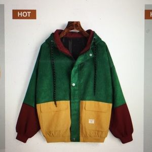 Jackets & Blazers - Hooded Color Block Corduroy Jacket